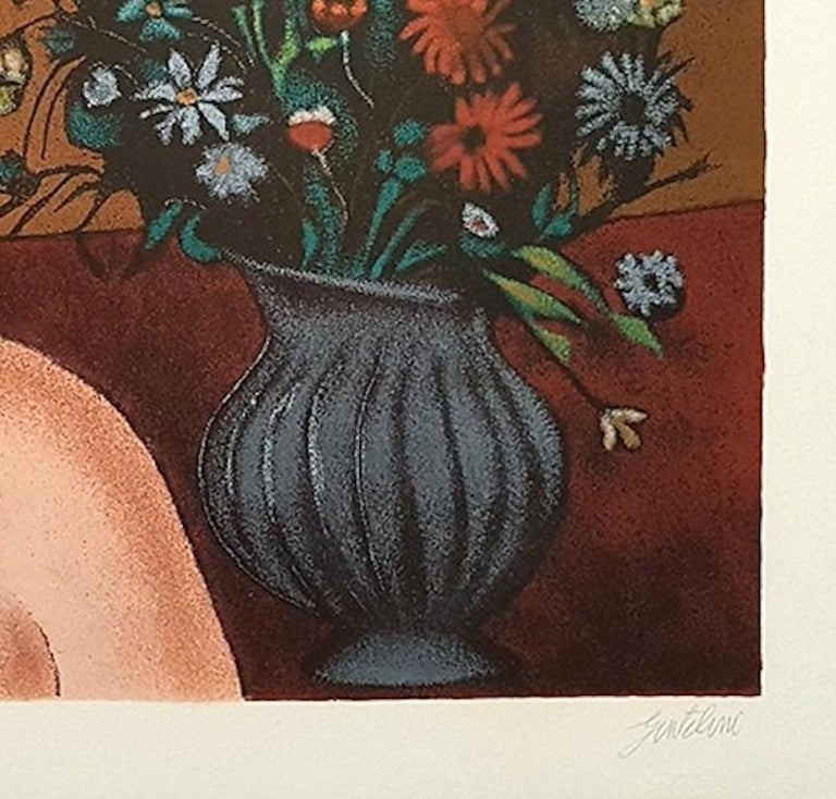 Girl with Vase of Flowers - Original Lithograph by Franco Gentilini - 1980 1
