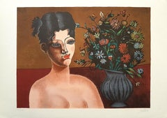 Girl with Vase of Flowers - Original Lithograph by Franco Gentilini - 1980