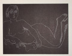 Nude on Black - Vintage Offset Print by Franco Gentilini - 20th Century