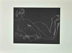 Nude Woman on Black Background - Vintage Offset by Franco Gentilini - 1970's