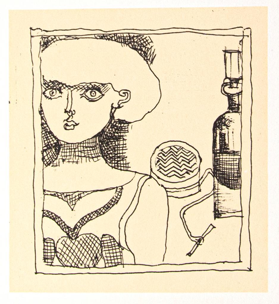 Portrait of a Woman - Original Offset by Franco Gentilini  - 1970s
