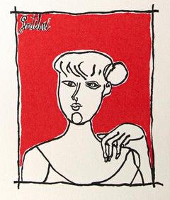 Portrait of a Woman - Original Offset by Franco Gentilini  - 1980s