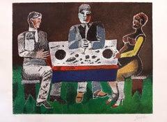 Symposium - Original Lithograph by Franco Gentilini - 1980
