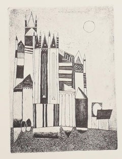 The Cathedral - Original Offset Print by Franco Gentilini - 1970s