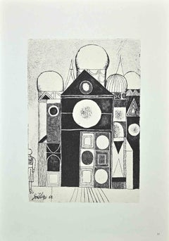 The Palace - Original Offset Print by Franco Gentilini - 1970s