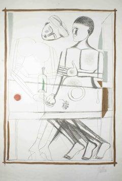 Two Men - Original Lithograph by Franco Gentilini - 1960 ca.