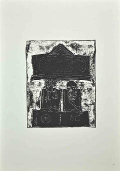 Two Old Men - Original Offset Print by Franco Gentilini - 1970s