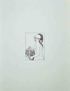 Woman with Flowers - Vintage Offset by Franco Gentilini - 1970s