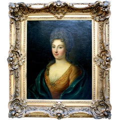 """Franco-German 19th Century Oil on Canvas """"Portrait of a Lady"""" in Giltwood Frame"""