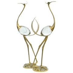 Franco Lagini 1970s Italian Vintage Pair of Crystal Gold Brass Crane Sculptures