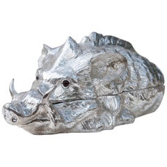 Franco Lapini Huge Silver Plated Wild Boar Centerpiece, Italy, 1970