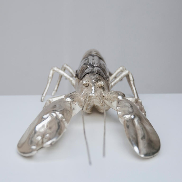 Italian Franco Lapini Silver Plated Lobster, Italy, 1970 For Sale