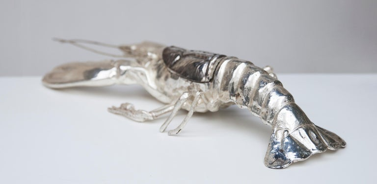 Late 20th Century Franco Lapini Silver Plated Lobster, Italy, 1970 For Sale