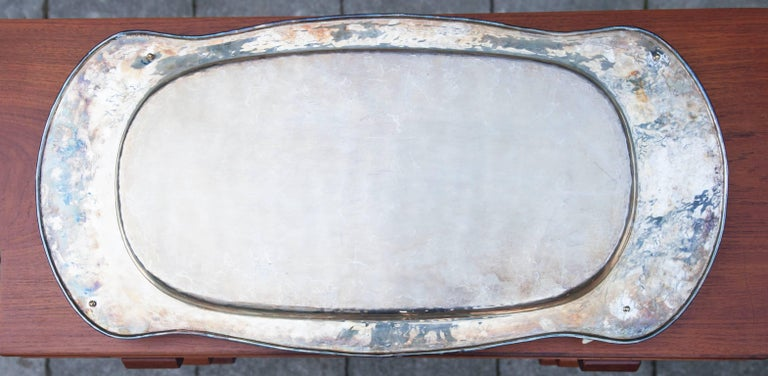 Italian Franco Lapini Silver Plated Serving Tray with Fake Ivory Handles, 1980 For Sale