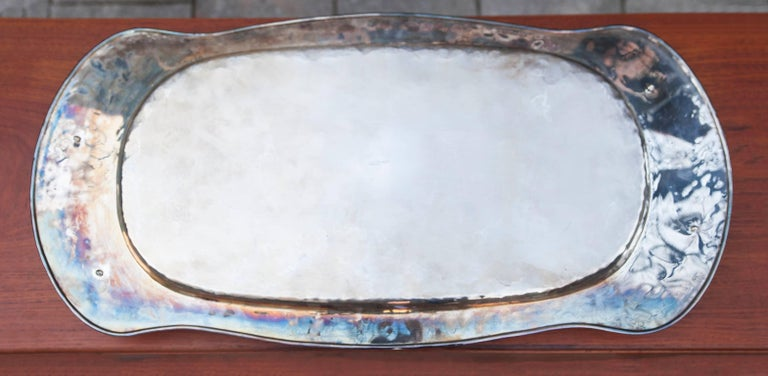 Italian Franco Lapini Silver Plated Serving Tray with Fox Handles, 1980 For Sale