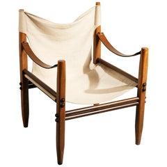 Franco Legler Ash and Canvas 'Oasis' Safari Chair for Zanotta, 1968