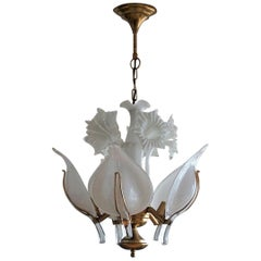 Franco Luce Hand Blown Murano Glass Leaf Flower Chandelier, Italy, 1970s
