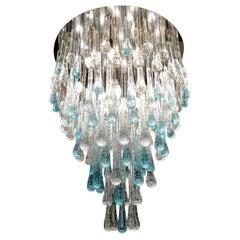 Franco Luce Mid-Century Modern Crystal Murano Glass Chandelier Gocce, 1980