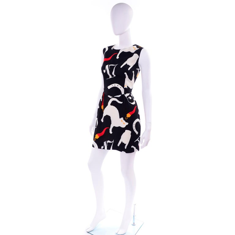 ca08103d41b5 Franco Moschino 1990s Vintage Pop Art Black & White Dress Lucky Icons &  Cats In Excellent