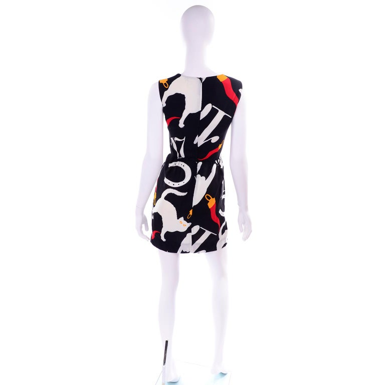 f7ec8faad4e8 Women's Franco Moschino 1990s Vintage Pop Art Black & White Dress Lucky  Icons & Cats For