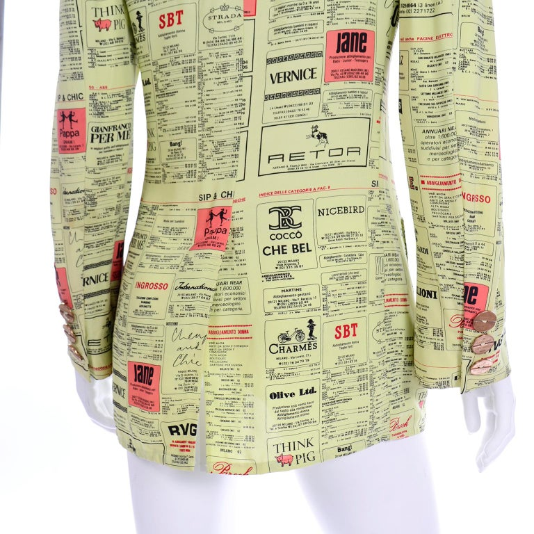 Franco Moschino 1990s Yellow Pages Blazer Jacket W Spoofs on Designer Labels For Sale 5