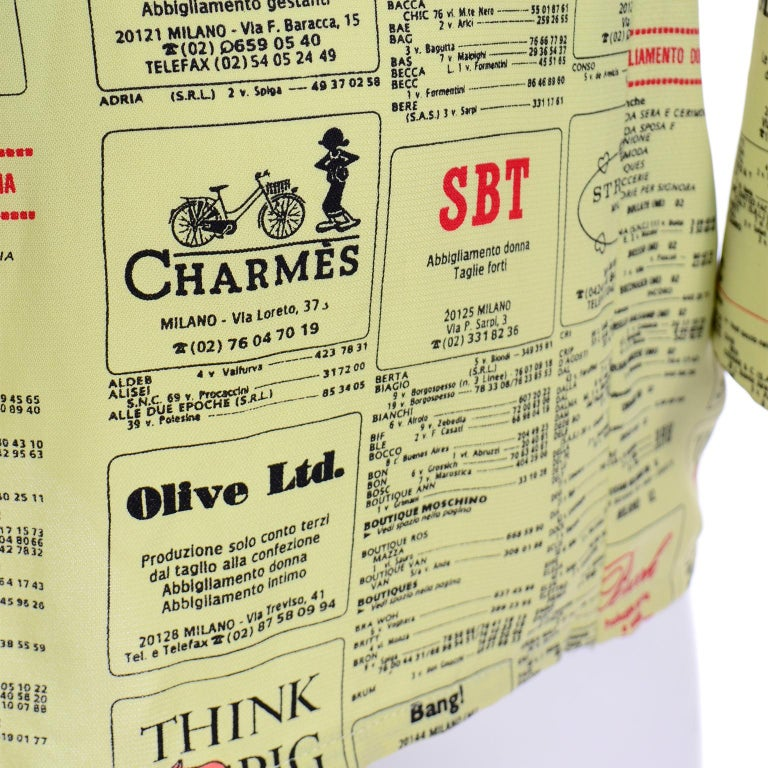 Franco Moschino 1990s Yellow Pages Blazer Jacket W Spoofs on Designer Labels For Sale 6