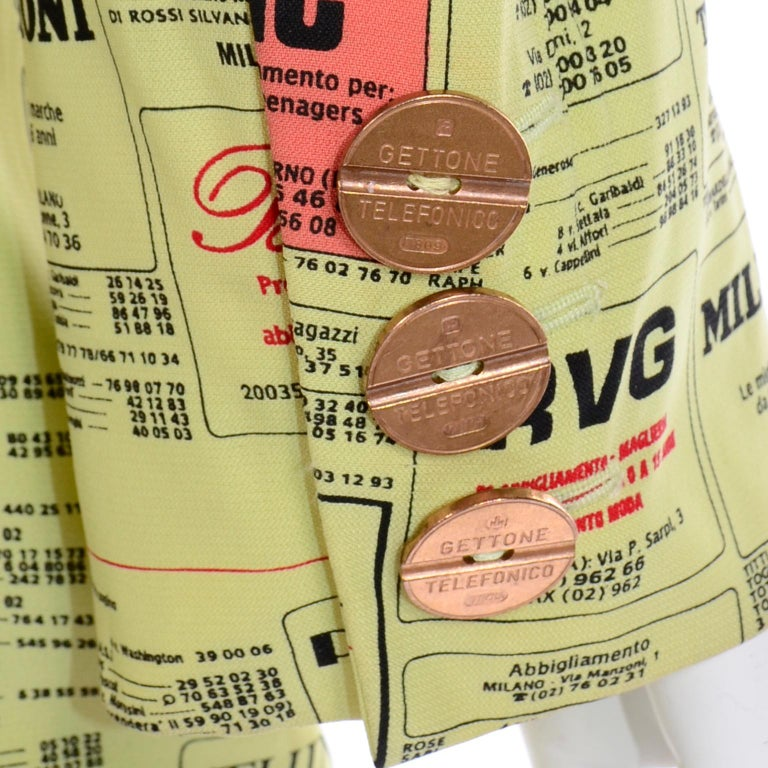 Franco Moschino 1990s Yellow Pages Blazer Jacket W Spoofs on Designer Labels For Sale 8