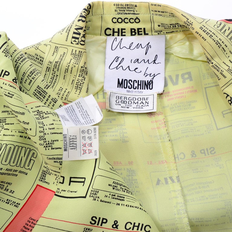 Franco Moschino 1990s Yellow Pages Blazer Jacket W Spoofs on Designer Labels For Sale 10