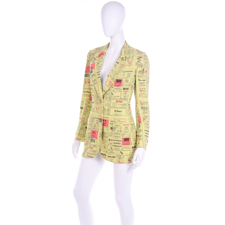 Beige Franco Moschino 1990s Yellow Pages Blazer Jacket W Spoofs on Designer Labels For Sale