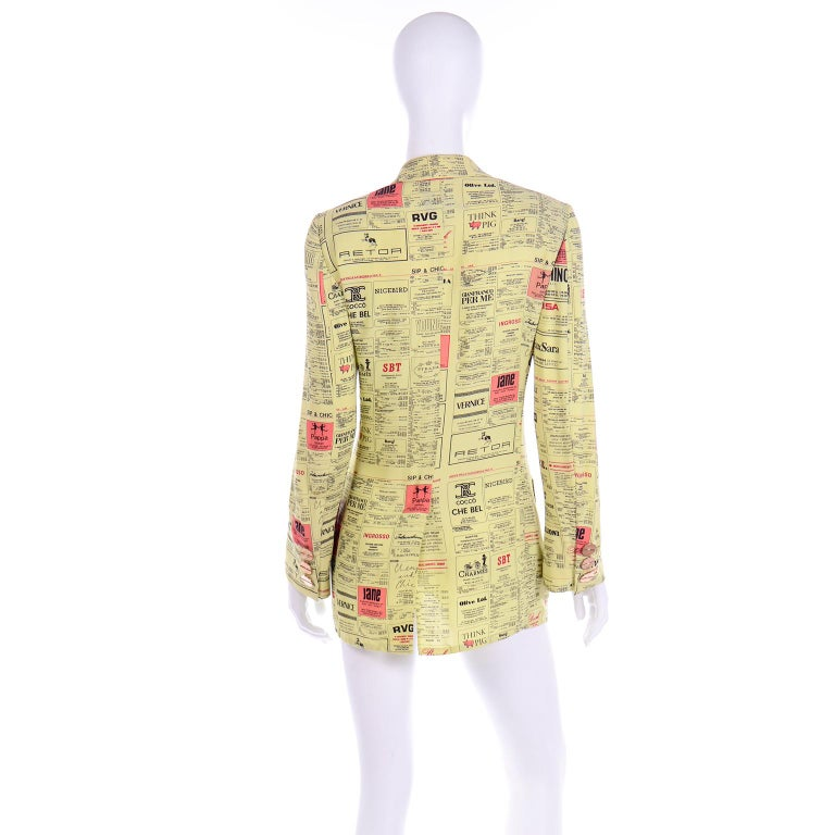 Franco Moschino 1990s Yellow Pages Blazer Jacket W Spoofs on Designer Labels In Excellent Condition For Sale In Portland, OR