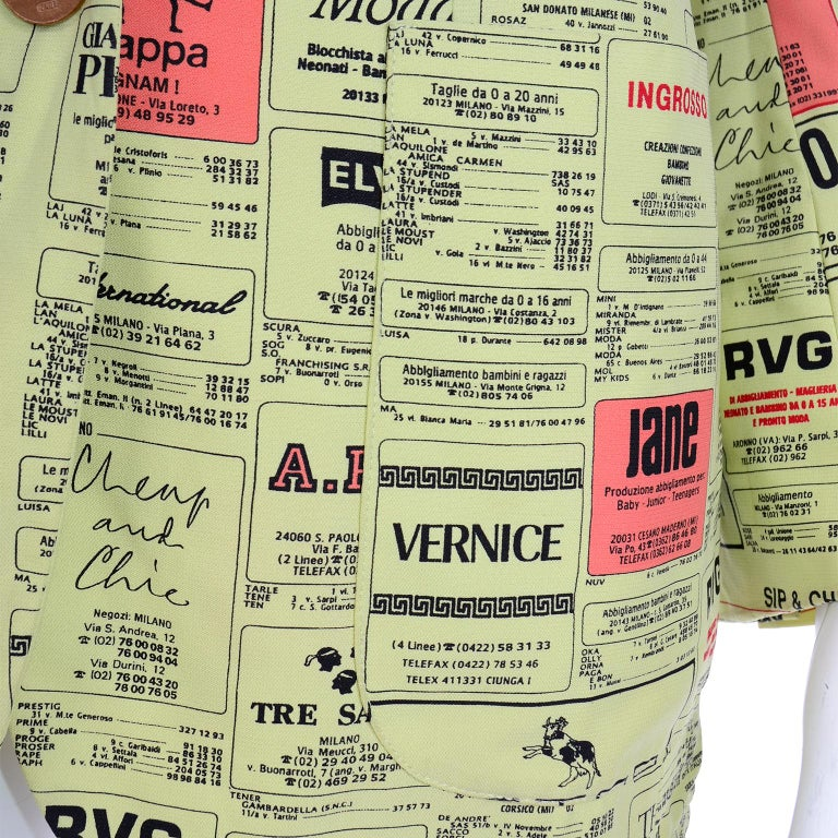 Women's Franco Moschino 1990s Yellow Pages Blazer Jacket W Spoofs on Designer Labels For Sale