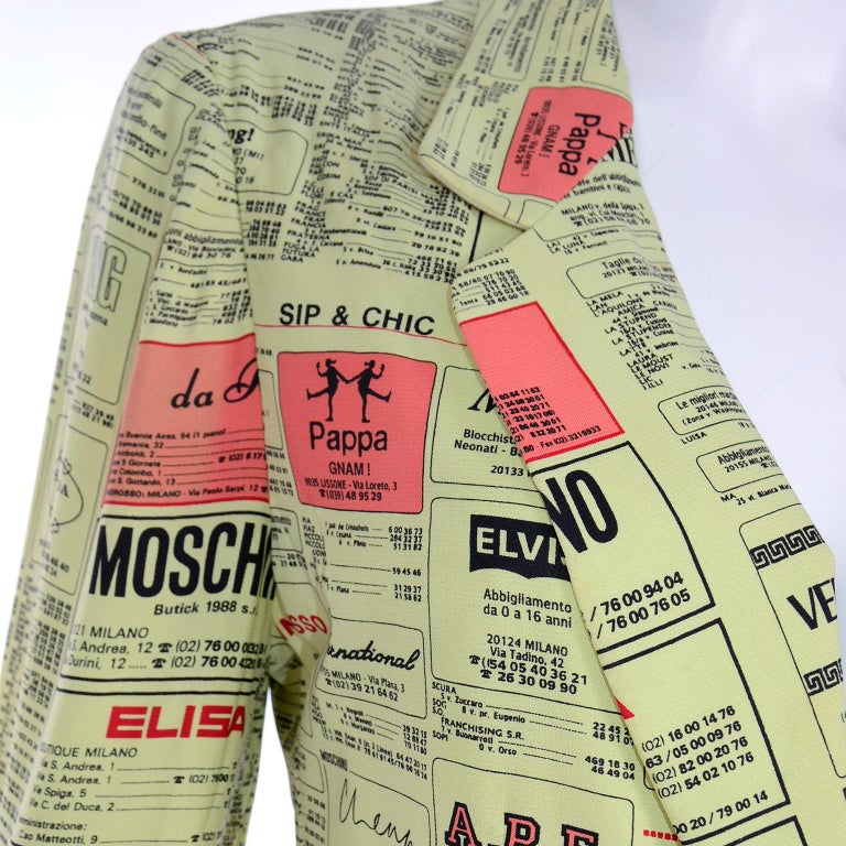 Franco Moschino 1990s Yellow Pages Blazer Jacket W Spoofs on Designer Labels For Sale 1