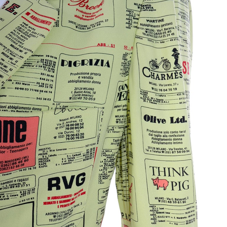 Franco Moschino 1990s Yellow Pages Blazer Jacket W Spoofs on Designer Labels For Sale 2