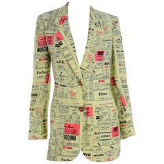 Franco Moschino 1990s Yellow Pages Blazer Jacket W Spoofs on Designer Labels