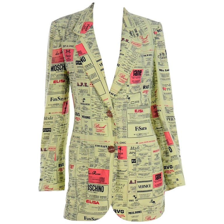 Franco Moschino 1990s Yellow Pages Blazer Jacket W Spoofs on Designer Labels For Sale