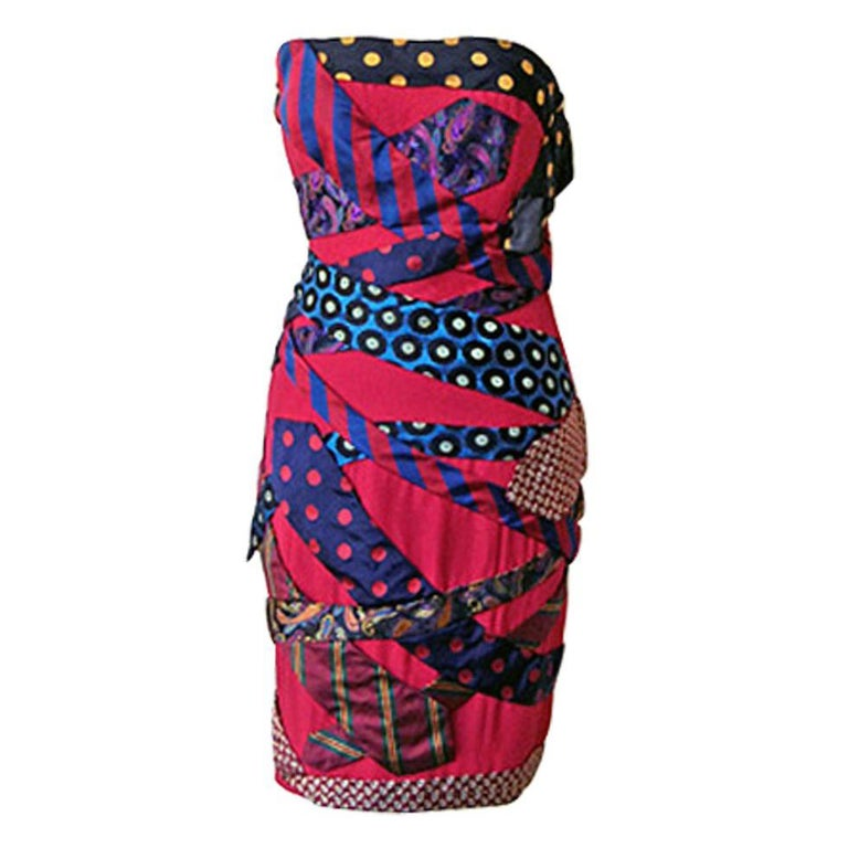 Franco Moschino Couture 80's  Silk Tie Dress For Sale