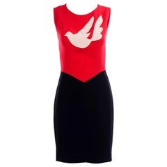 Franco Moschino Vintage 1990s Cheap and Chic Dove of Peace Red & Black Dress