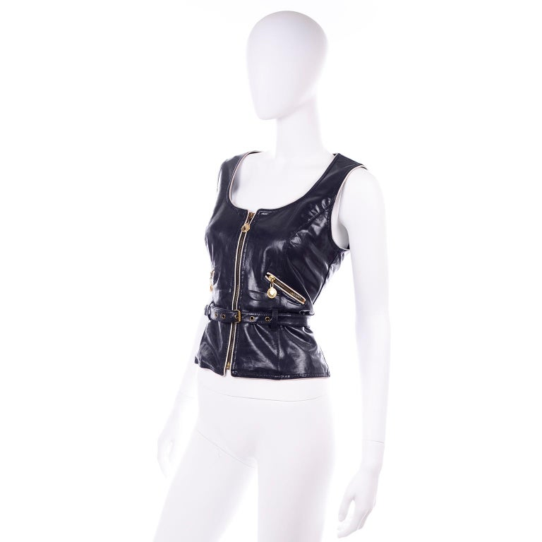 Franco Moschino Vintage Navy Blue Faux Leather Vest With Gold Heart Zipper Pulls For Sale 3