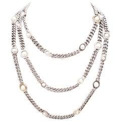 Franco Pianegonda Sterling Silver and 18 Karat Pearl Three-Strand Necklace