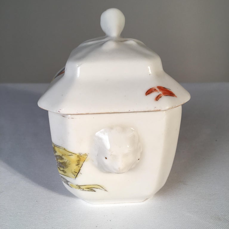 A porcelain sugar bowl with lid commemorating the cease-fire in the Franco-Prussian War, circa 1871. Collection of Pierre Moulin, founder of Pierre Deux shops.