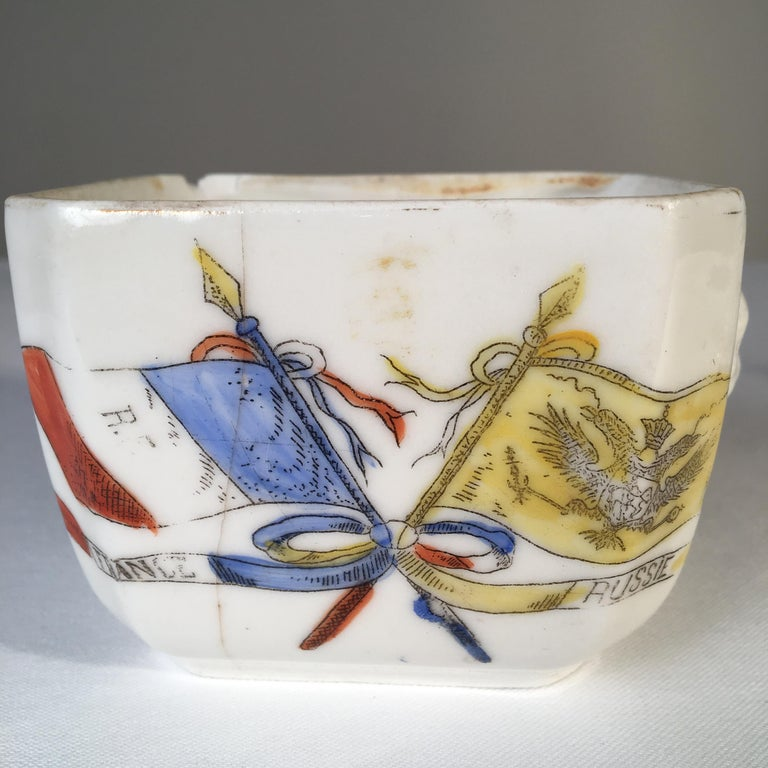 Franco-Prussian War Commemorative Sugar Bowl In Fair Condition For Sale In Doylestown, PA