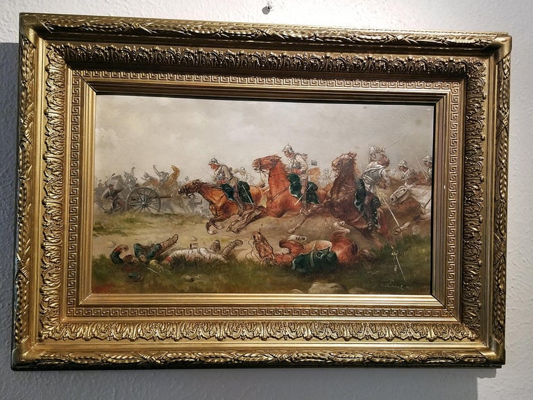 Presenting a historical and unique depiction of a battle during the Franco-Prussian war by G. Thorsbaek 1897.  Signed and dated by the artist on the bottom right.  This original oil on board is in it's original frame and depicts Prussian cavalry