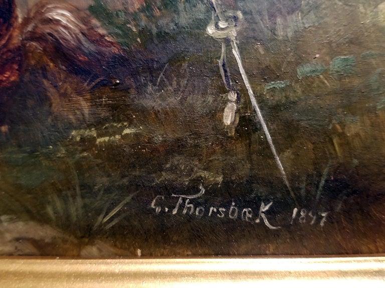 Hand-Carved Franco Prussian War Oil on Board by G. Thorsbaek, 1897 For Sale