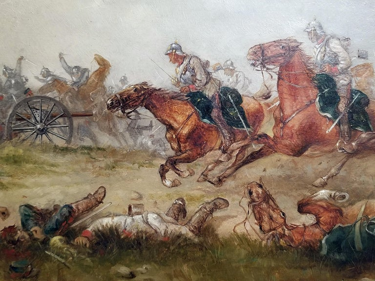 Franco Prussian War Oil on Board by G. Thorsbaek, 1897 In Good Condition For Sale In Dallas, TX