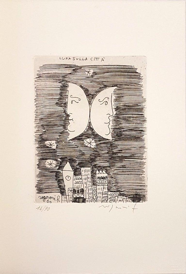 Moon on the City - Origina Etching by F. Rognoni - 1960 - Print by Franco Rognoni