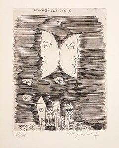 Moon on the City - Origina Etching by F. Rognoni - 1960