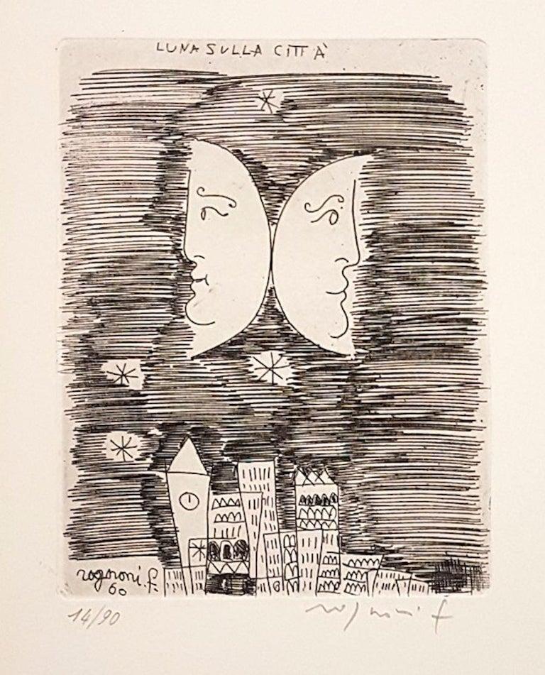 Franco Rognoni Figurative Print - Moon on the City - Origina Etching by F. Rognoni - 1960