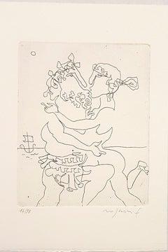 Ulysses and Calipso - Origina Etching by F. Rognoni - 1967