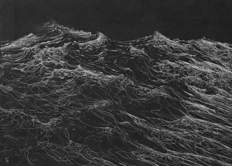 Dark Clamour by F. S. Borquez - Work on paper, contemporary, ocean waves - Painting by Franco Salas Borquez