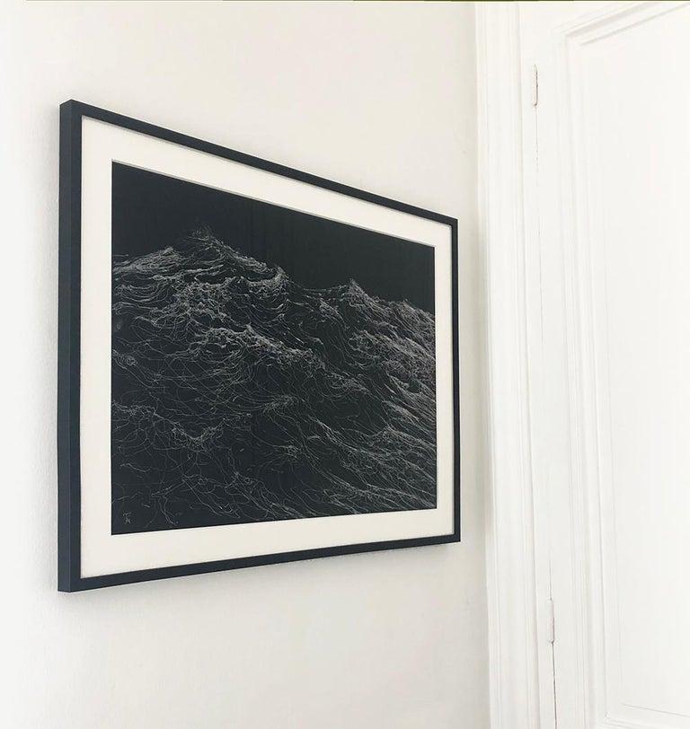 Dark Clamour by F. S. Borquez - Work on paper, contemporary, ocean waves - Black Landscape Painting by Franco Salas Borquez
